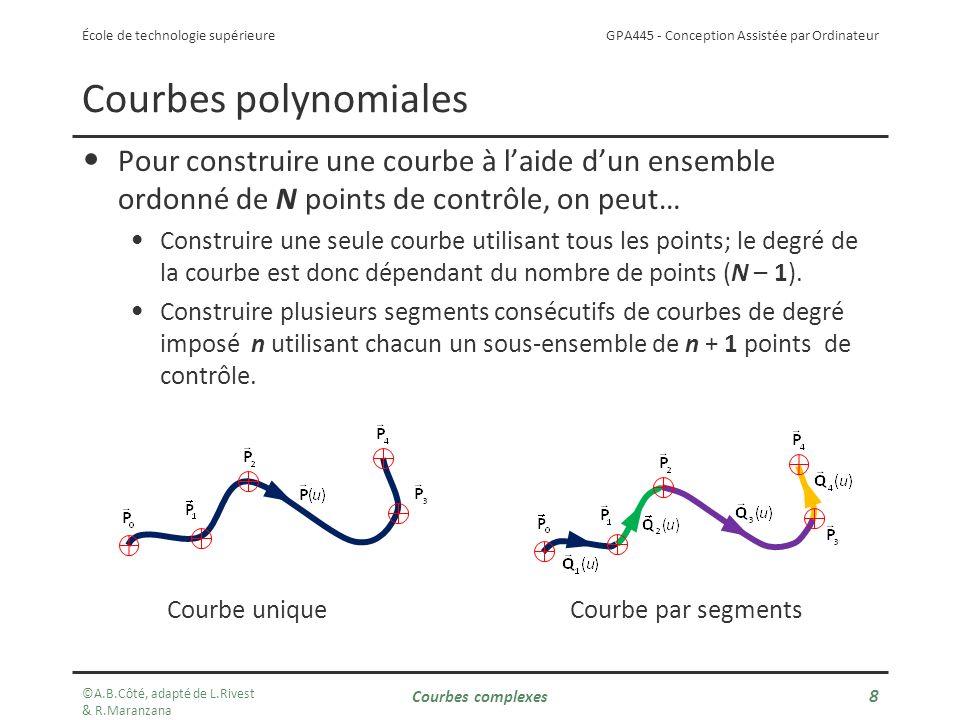 Courbes polynomiales Pour construire une courbe à l'aide d'un ensemble ordonné de N points de contrôle, on peut…