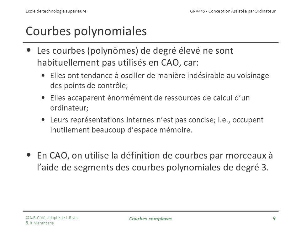 Courbes polynomiales Les courbes (polynômes) de degré élevé ne sont habituellement pas utilisés en CAO, car: