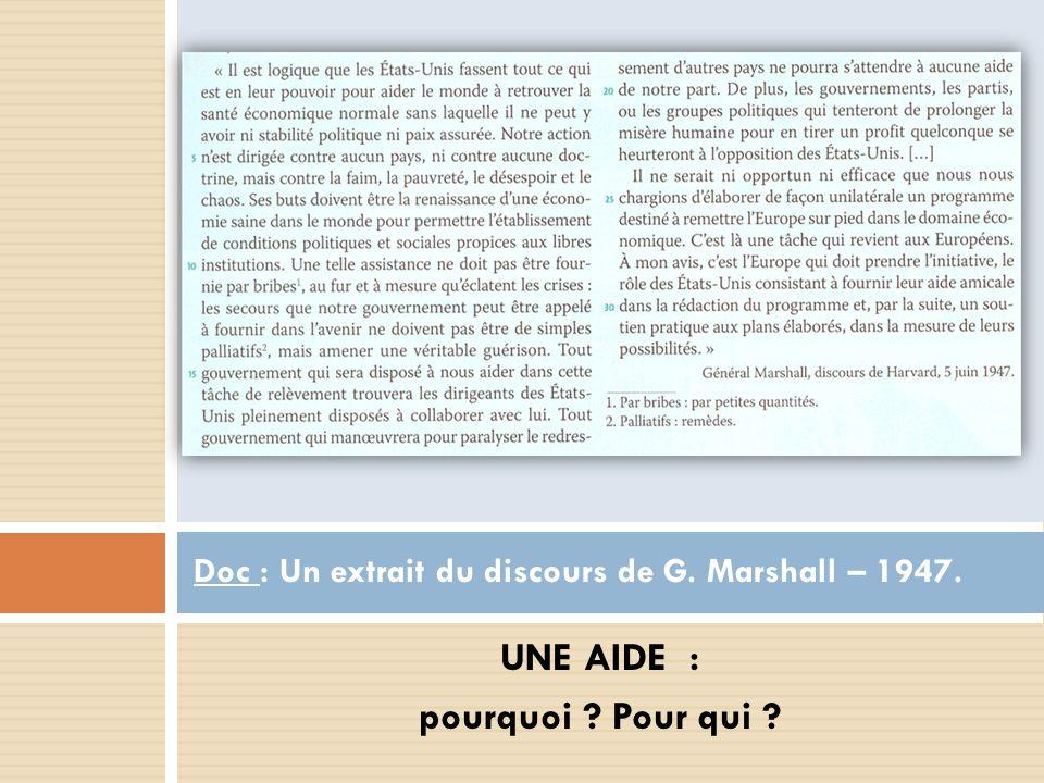 Doc : Un extrait du discours de G. Marshall – 1947.