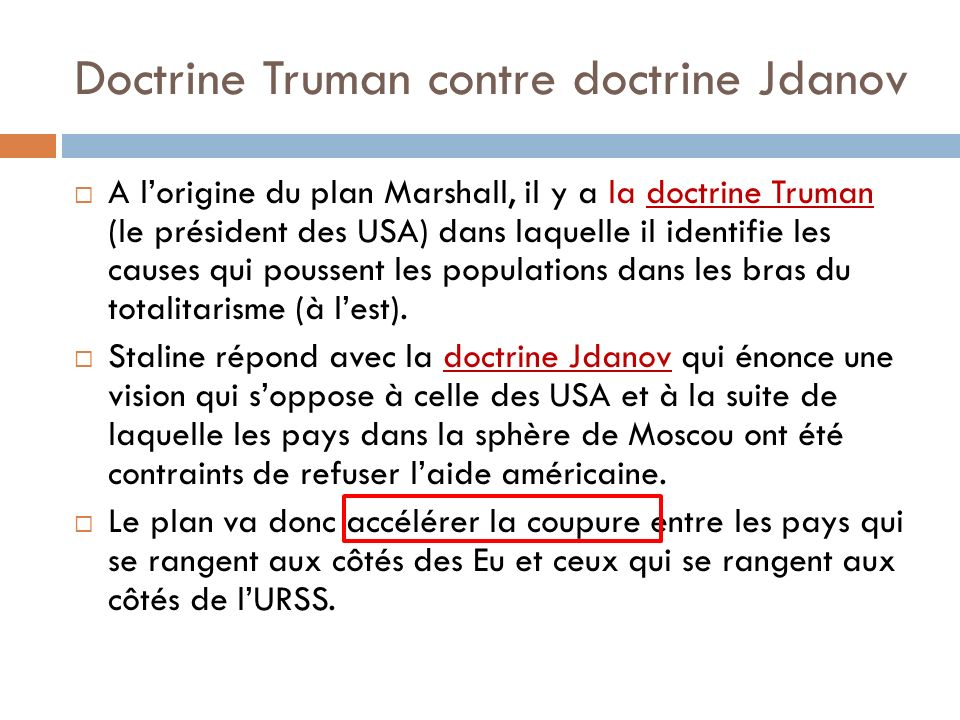 Doctrine Truman contre doctrine Jdanov
