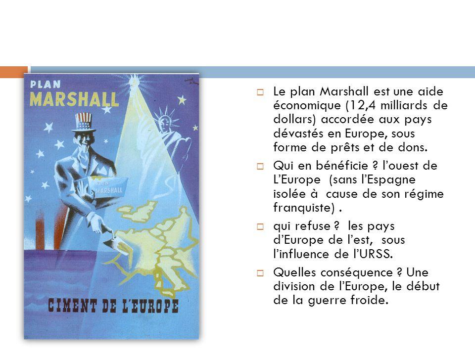 Le plan Marshall est une aide économique (12,4 milliards de dollars) accordée aux pays dévastés en Europe, sous forme de prêts et de dons.