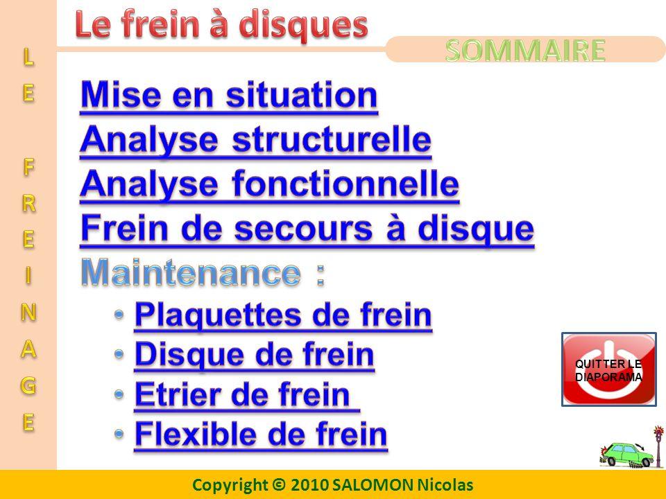Analyse fonctionnelle Frein de secours à disque Maintenance :