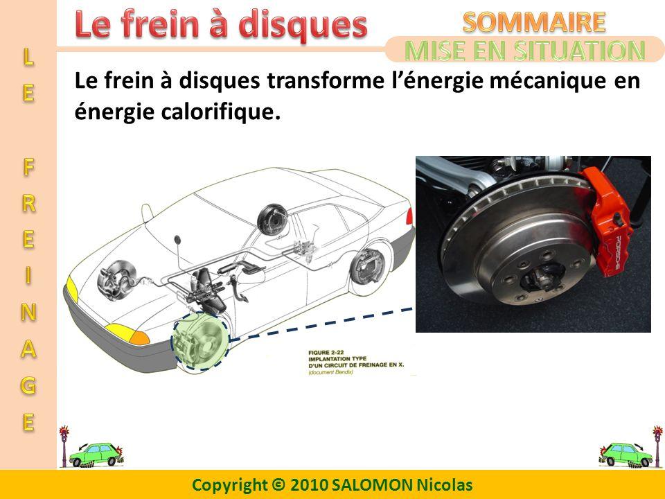 MISE EN SITUATION Le frein à disques transforme l'énergie mécanique en énergie calorifique.