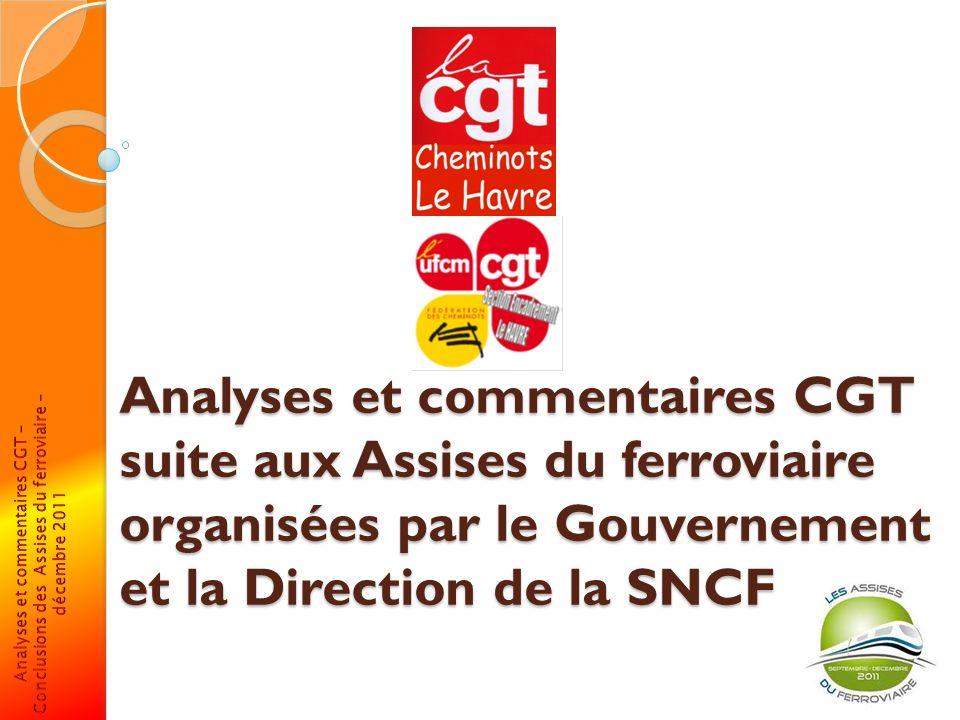Analyses et commentaires CGT suite aux Assises du ferroviaire organisées par le Gouvernement et la Direction de la SNCF