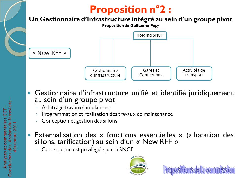 Proposition n°2 : Un Gestionnaire d'Infrastructure intégré au sein d'un groupe pivot. Proposition de Guillaume Pepy.