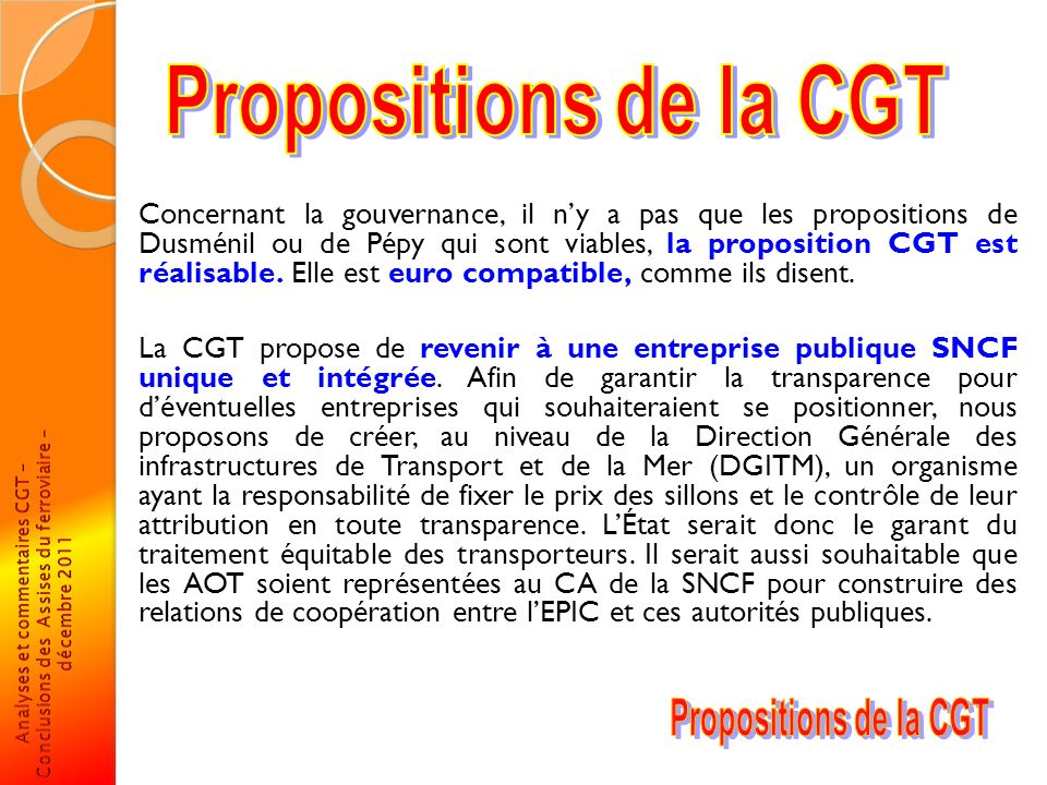 Propositions de la CGT