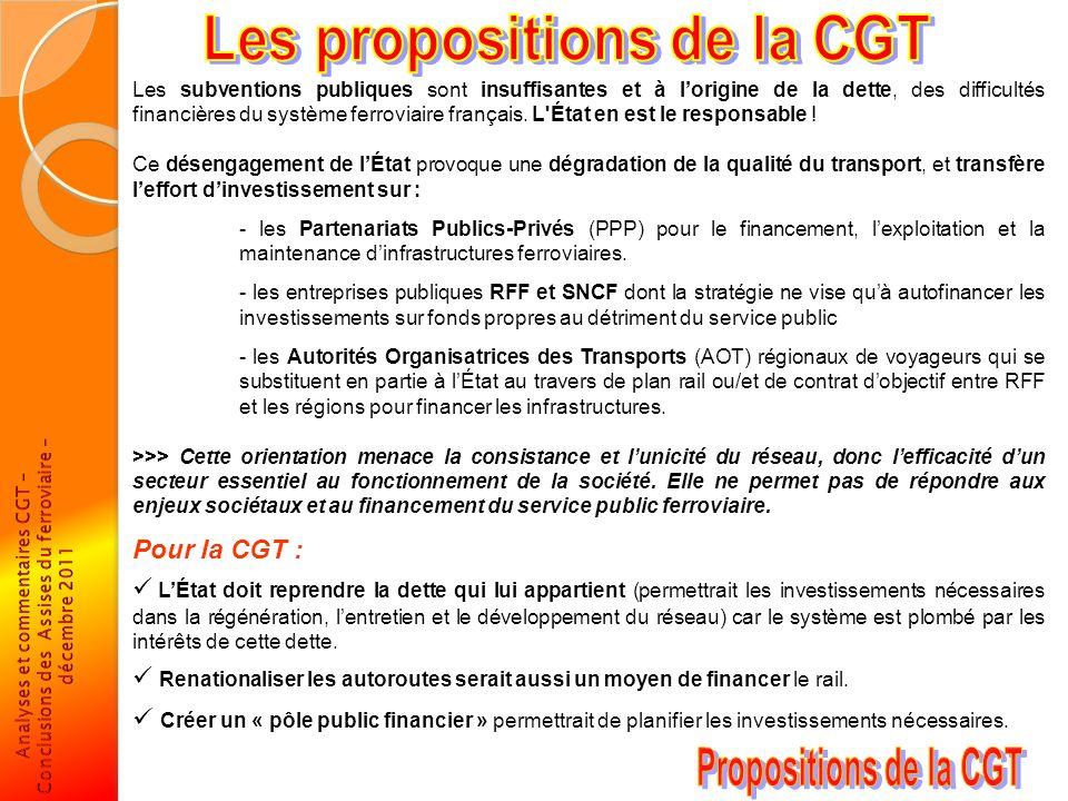Les propositions de la CGT Propositions de la CGT