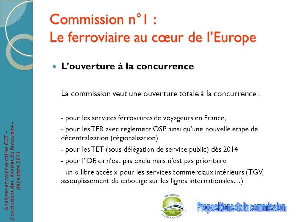Commission n°1 : Le ferroviaire au cœur de l'Europe
