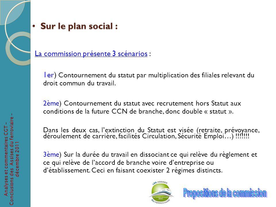 Sur le plan social : La commission présente 3 scénarios :