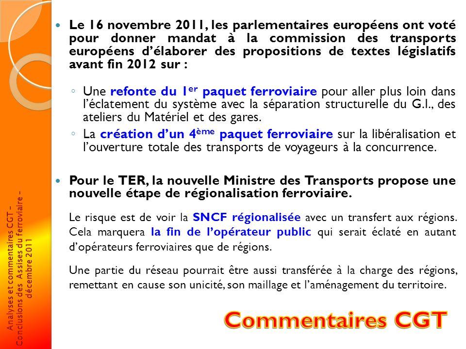 Le 16 novembre 2011, les parlementaires européens ont voté pour donner mandat à la commission des transports européens d'élaborer des propositions de textes législatifs avant fin 2012 sur :
