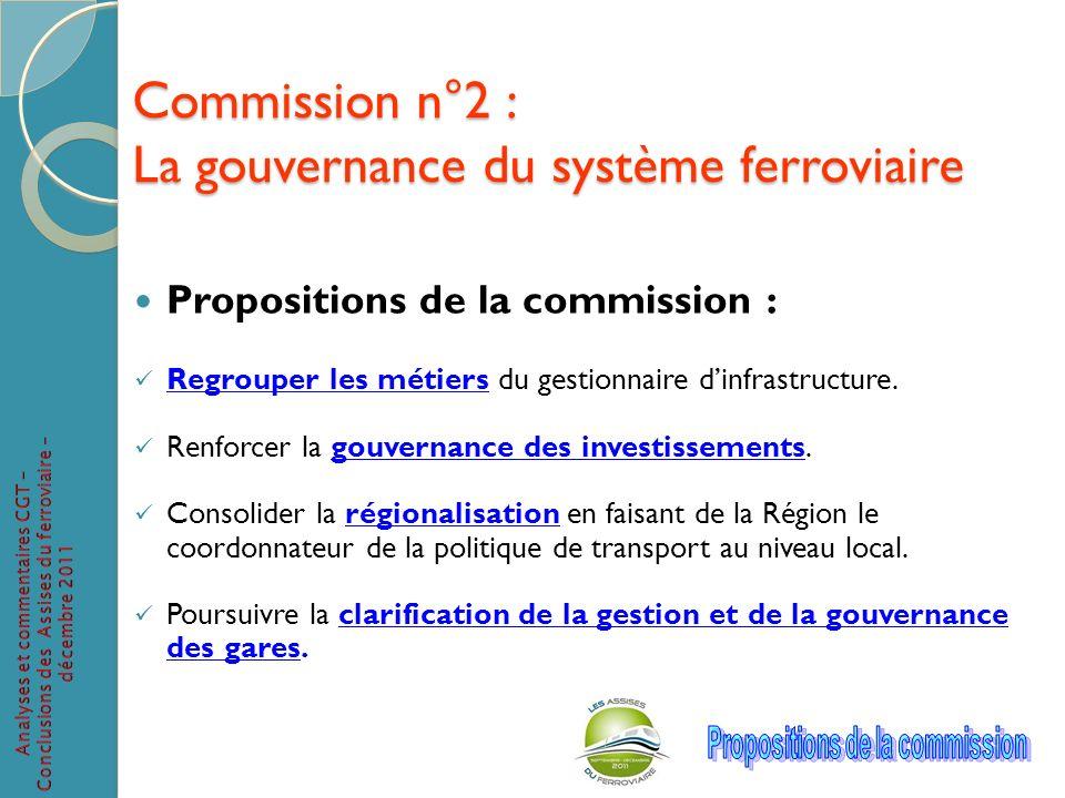 Commission n°2 : La gouvernance du système ferroviaire