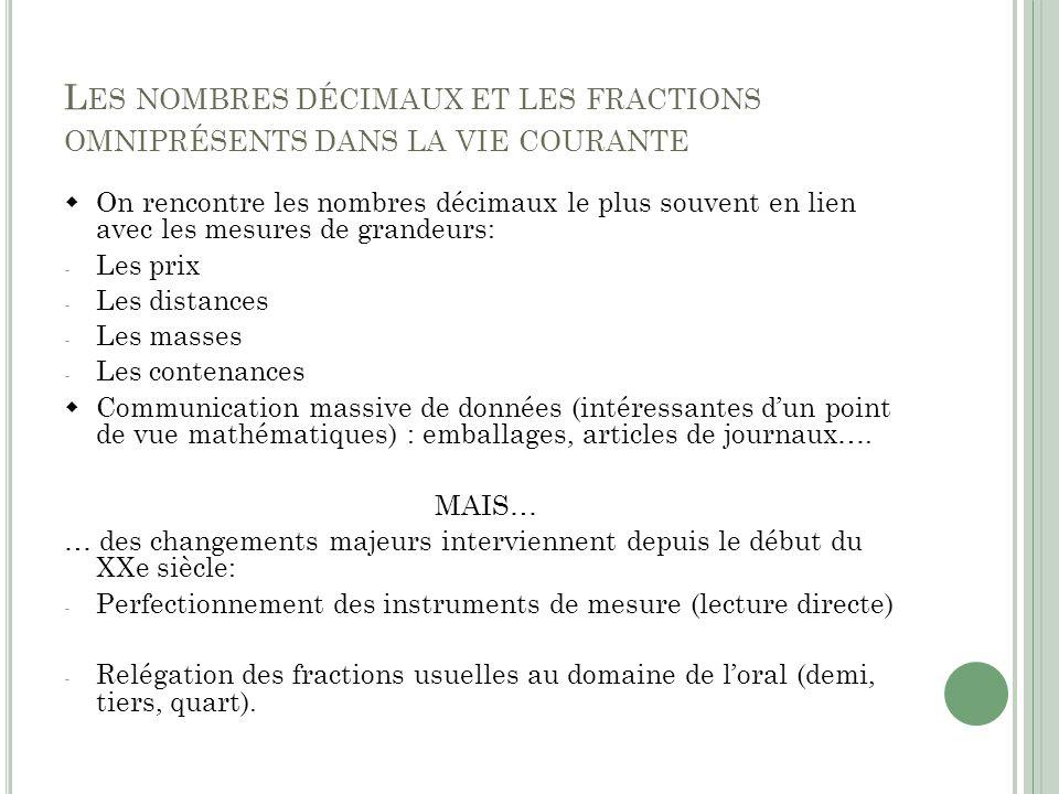 Les nombres décimaux et les fractions omniprésents dans la vie courante