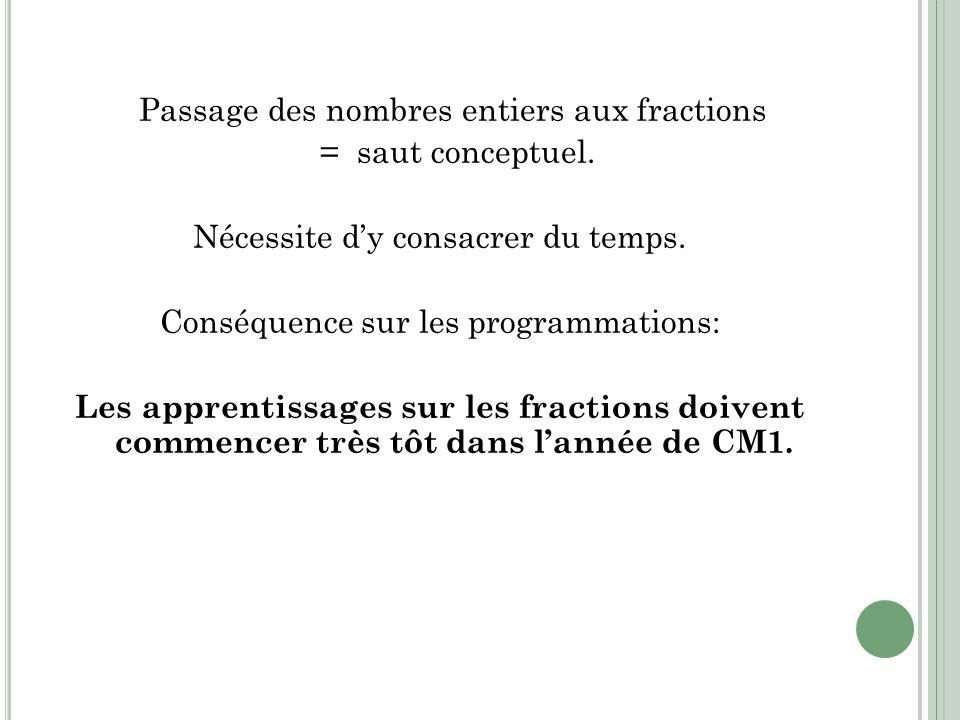 Passage des nombres entiers aux fractions = saut conceptuel