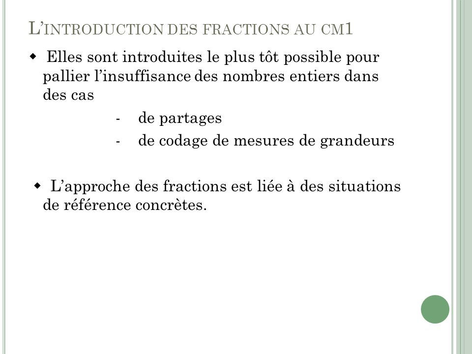 L'introduction des fractions au cm1