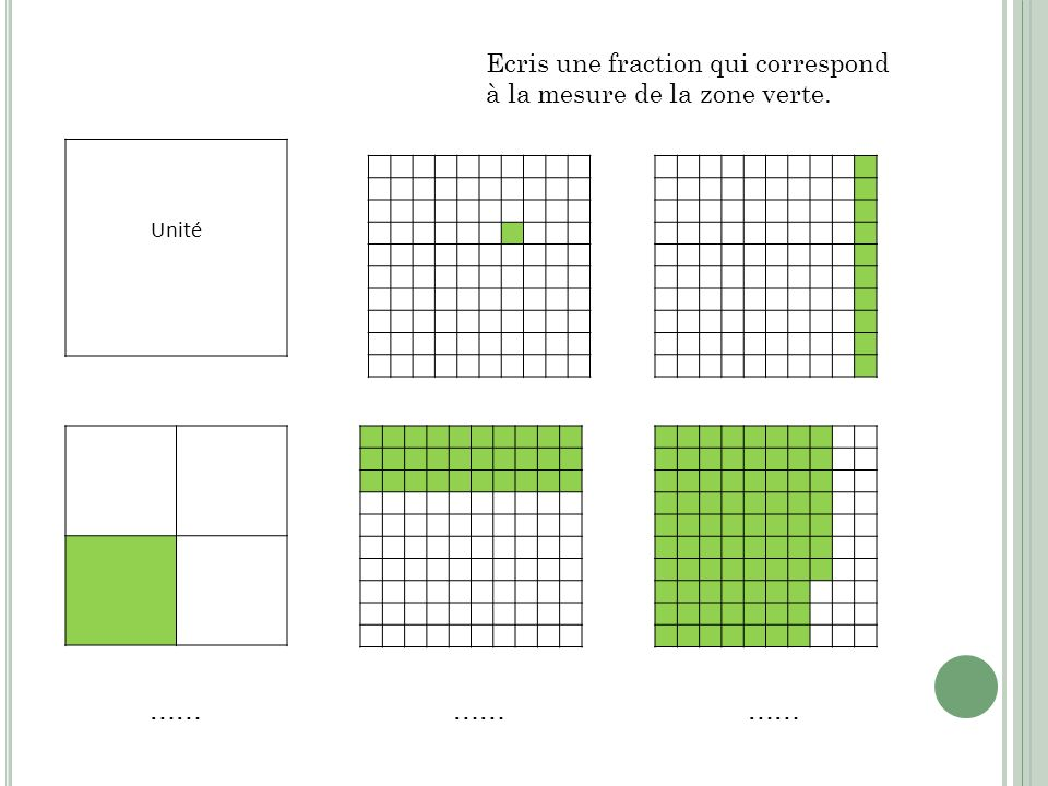 Ecris une fraction qui correspond à la mesure de la zone verte.
