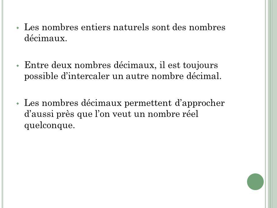 Les nombres entiers naturels sont des nombres décimaux.