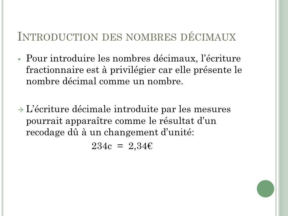 Introduction des nombres décimaux