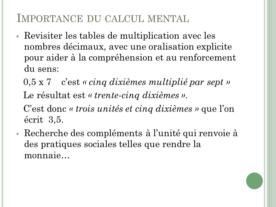 Importance du calcul mental