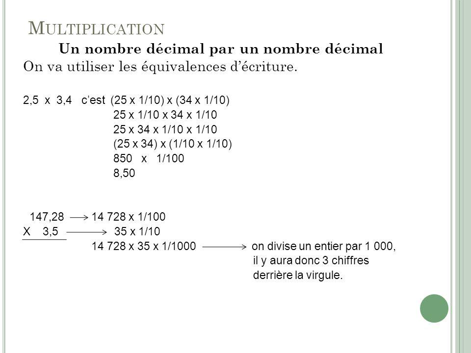 Un nombre décimal par un nombre décimal
