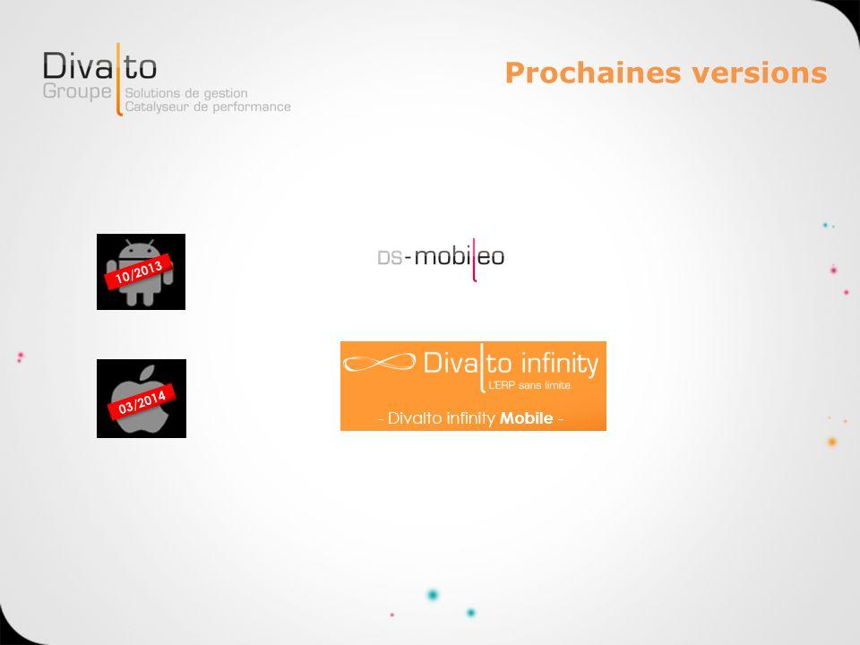 Prochaines versions 10/2013 03/2014