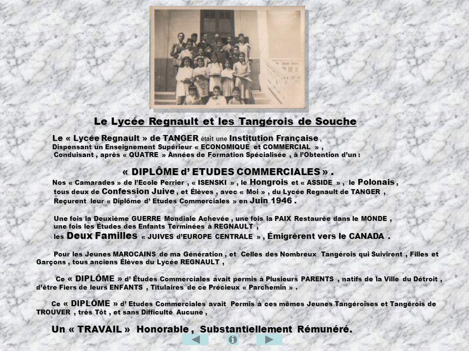 Le Lycée Regnault et les Tangérois de Souche