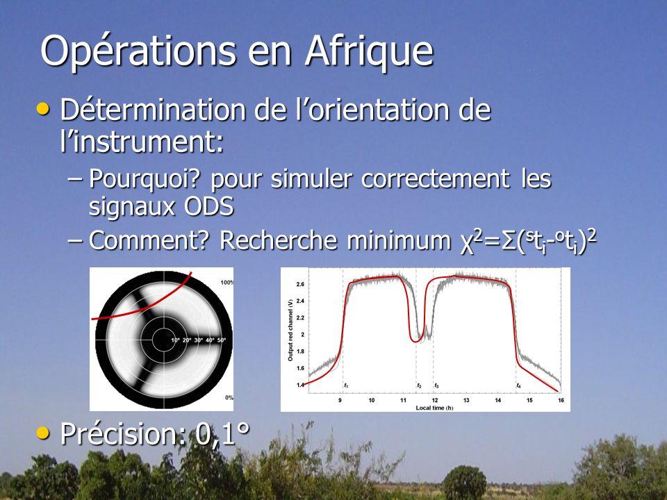 Opérations en Afrique Détermination de l'orientation de l'instrument: