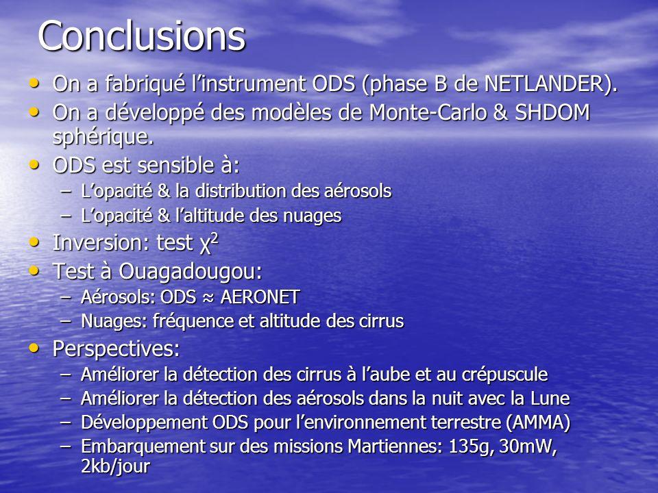 Conclusions On a fabriqué l'instrument ODS (phase B de NETLANDER).