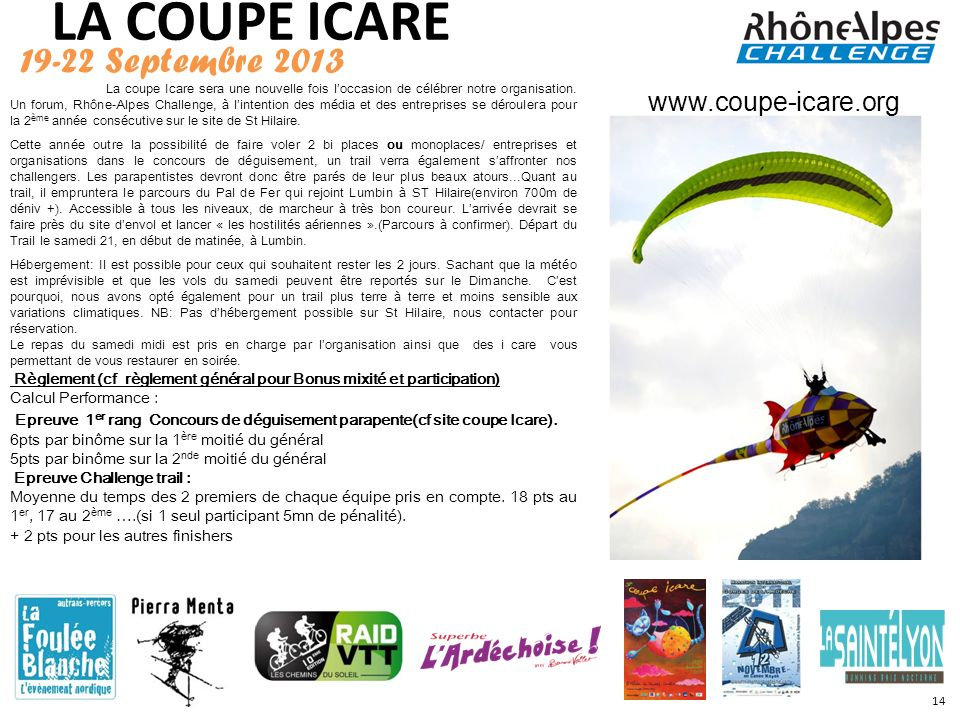 LA COUPE ICARE 19-22 Septembre 2013 www.coupe-icare.org
