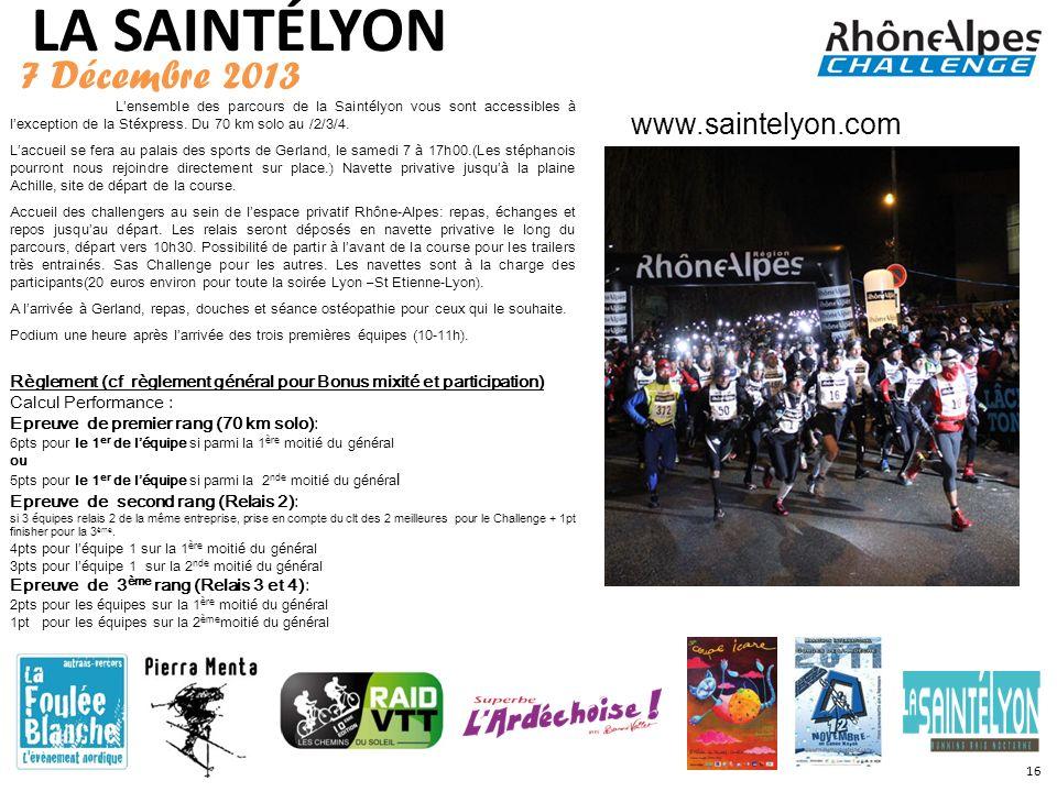 LA SAINTÉLYON 7 Décembre 2013 www.saintelyon.com