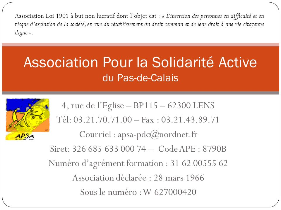 Association pour la solidarit active ppt video online - Composition bureau association loi 1901 ...