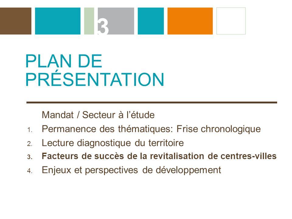 3 PLAN DE PRÉSENTATION Mandat / Secteur à l'étude