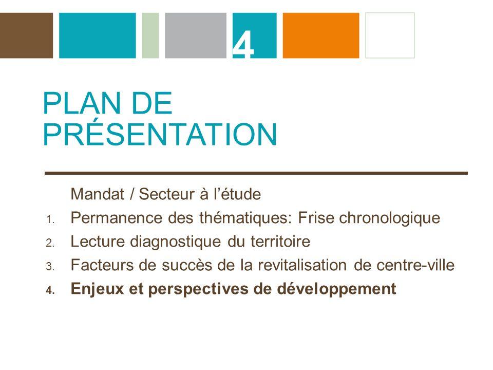 4 PLAN DE PRÉSENTATION Mandat / Secteur à l'étude
