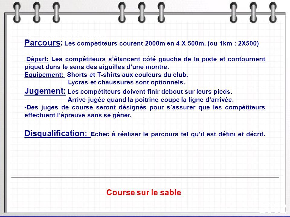 Parcours: Les compétiteurs courent 2000m en 4 X 500m. (ou 1km : 2X500)