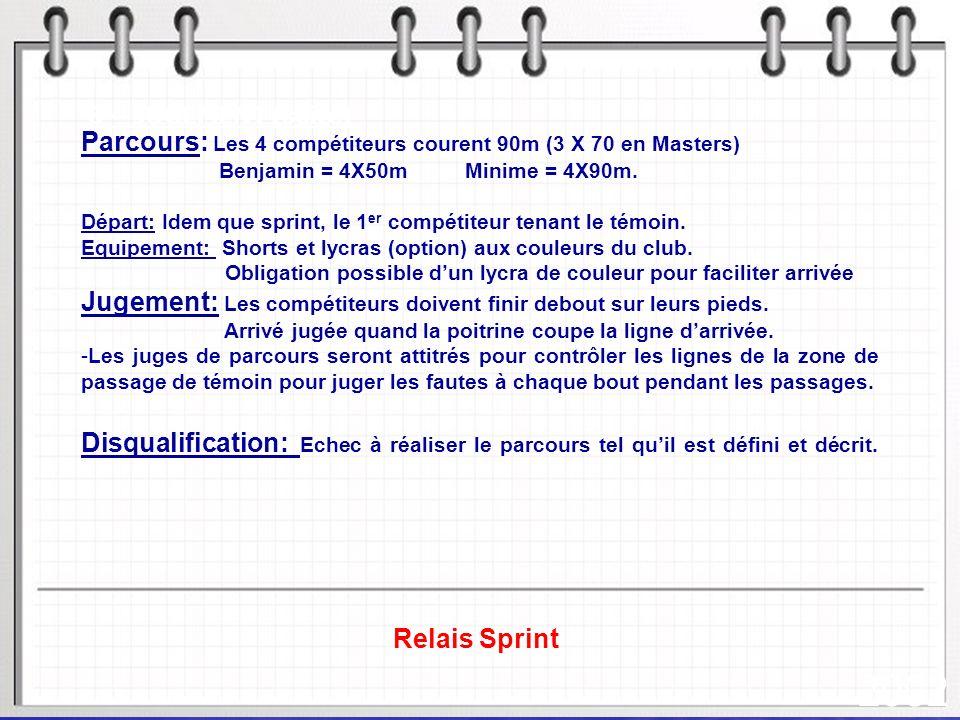 2002 Parcours: Les 4 compétiteurs courent 90m (3 X 70 en Masters)