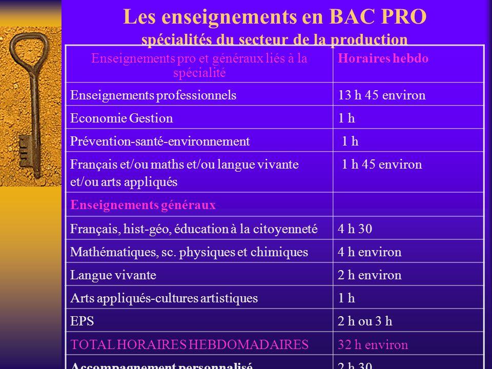 Les enseignements en BAC PRO spécialités du secteur de la production