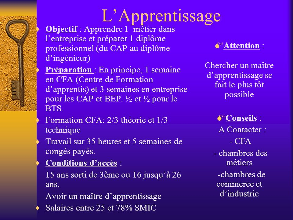 L'Apprentissage Objectif : Apprendre 1 métier dans l'entreprise et préparer 1 diplôme professionnel (du CAP au diplôme d'ingénieur)