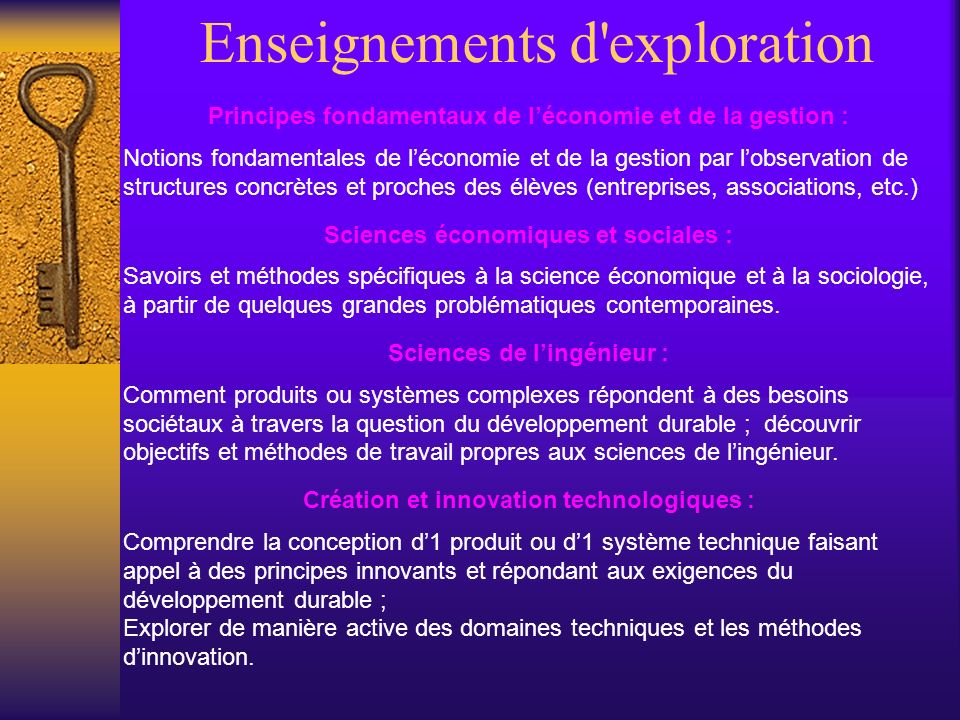 Enseignements d exploration