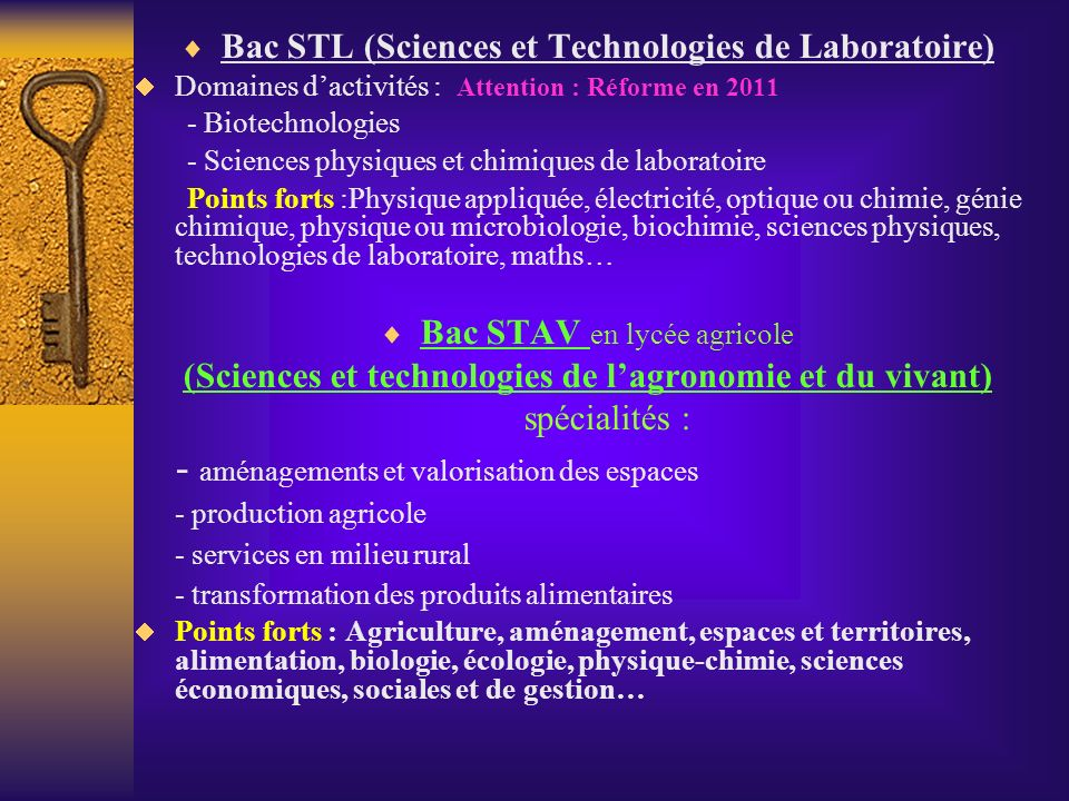 Bac STL (Sciences et Technologies de Laboratoire)