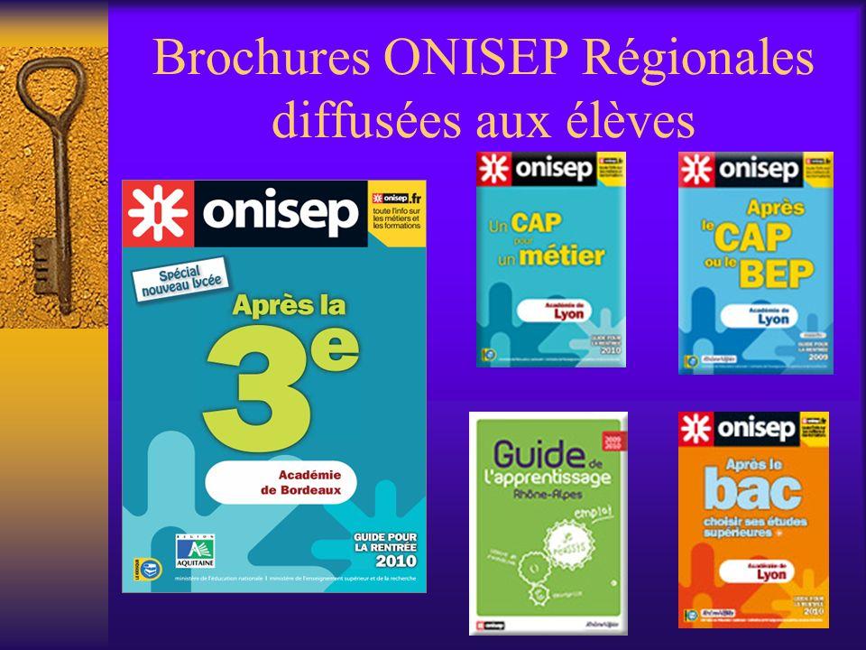 Brochures ONISEP Régionales diffusées aux élèves