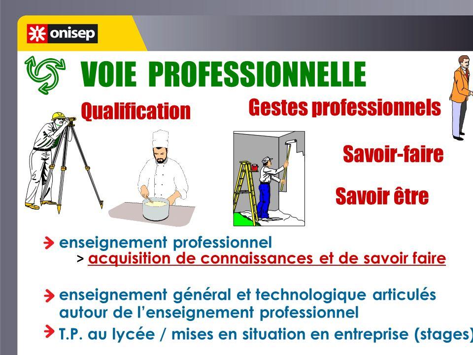 VOIE PROFESSIONNELLE Gestes professionnels Qualification Savoir-faire