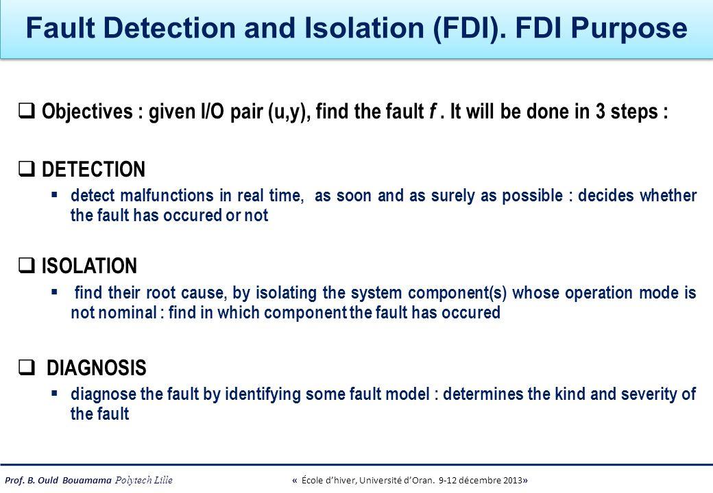 Fault Detection and Isolation (FDI). FDI Purpose