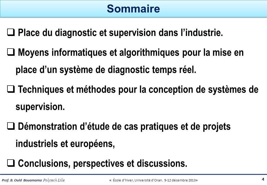 Sommaire Place du diagnostic et supervision dans l'industrie.