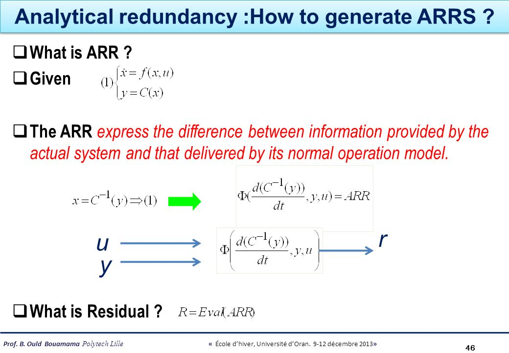 Analytical redundancy :How to generate ARRS