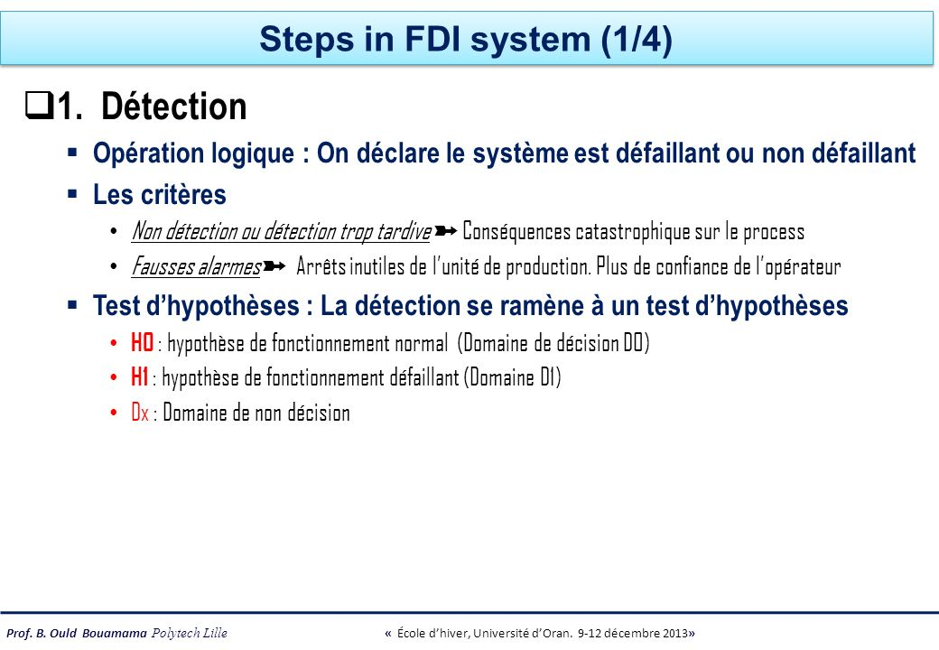 1. Détection Steps in FDI system (1/4)