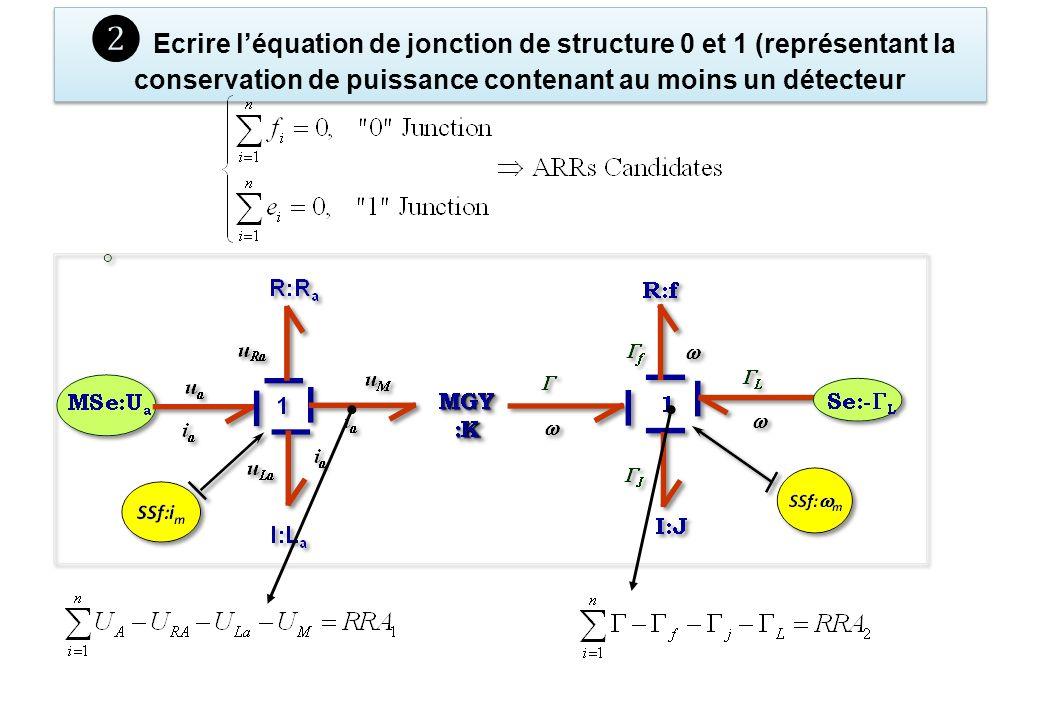 ❷ Ecrire l'équation de jonction de structure 0 et 1 (représentant la conservation de puissance contenant au moins un détecteur