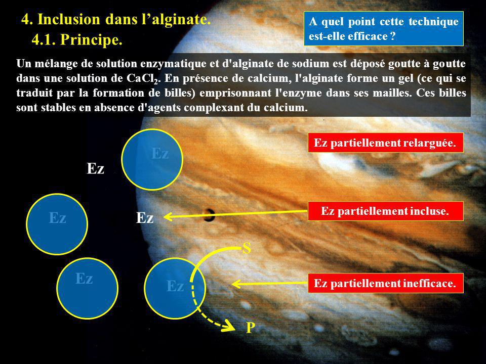 4.1 4. Inclusion dans l'alginate. 4.1. Principe. Ez Ez Ez Ez S Ez Ez P