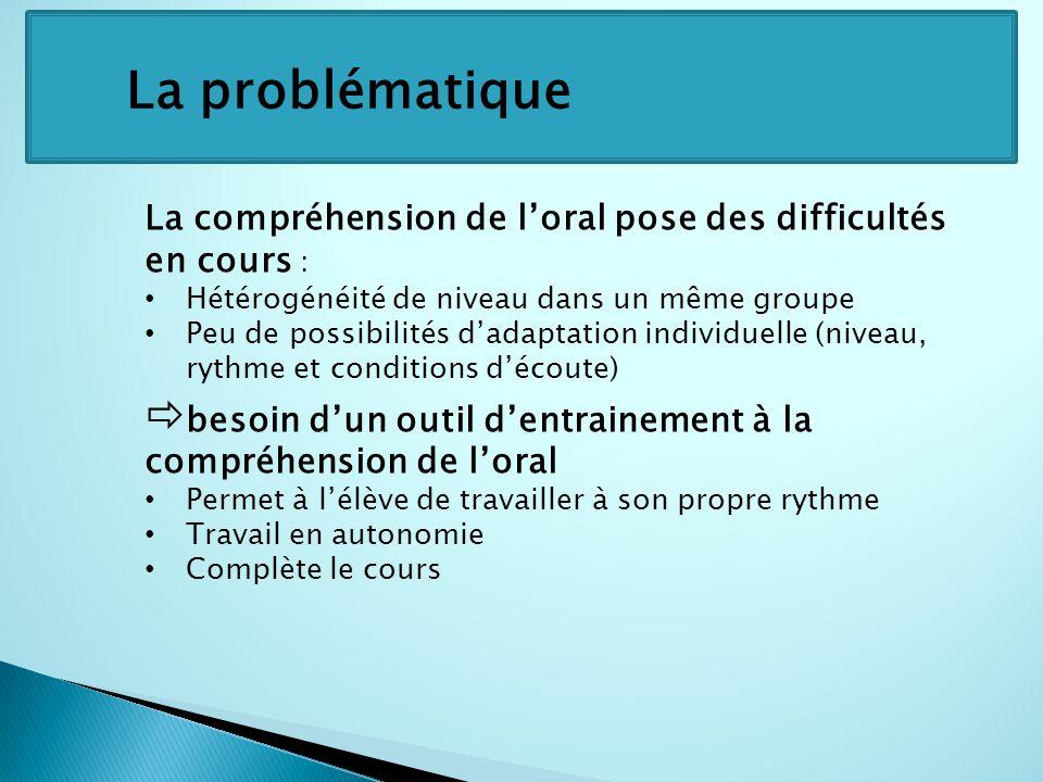 La problématique La compréhension de l'oral pose des difficultés en cours : Hétérogénéité de niveau dans un même groupe.