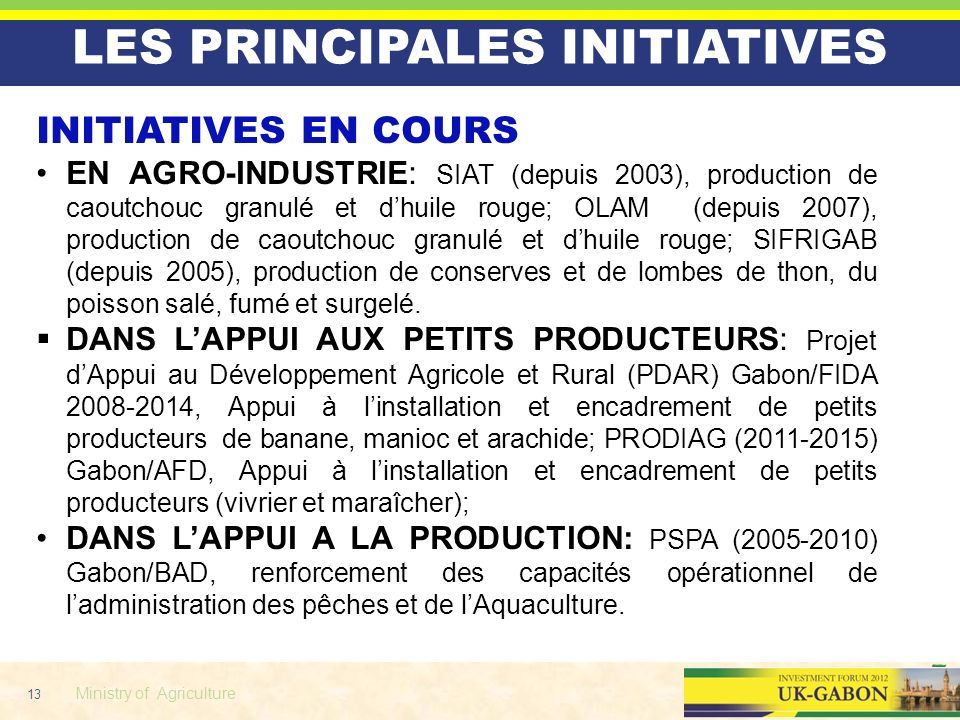 LES PRINCIPALES INITIATIVES