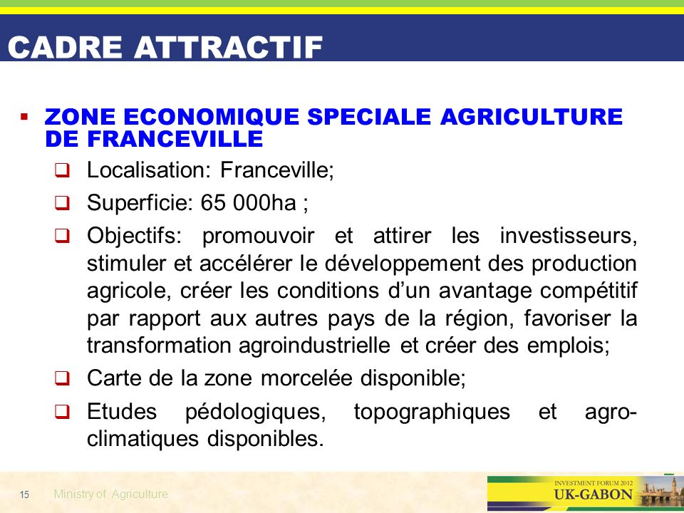 ZONE ECONOMIQUE SPECIALE AGRICULTURE DE FRANCEVILLE