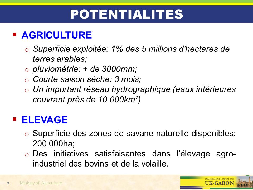 POTENTIALITES AGRICULTURE ELEVAGE